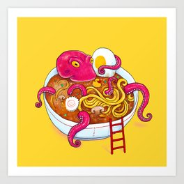 Bowl of ramen with octopus taking a bath Art Print