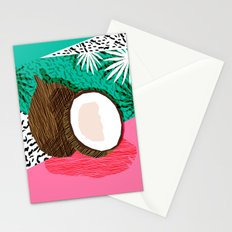 Bada Bing - memphis throwback tropical coconuts food vegan nature abstract illo neon 1980s 80s style Stationery Cards