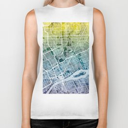 Detroit Michigan City Map Biker Tank