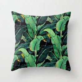 Watercolor banana leaves night pattern Throw Pillow