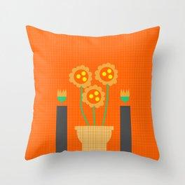 Retro houseplants Throw Pillow