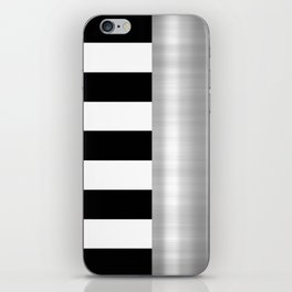 Black & White Stripes & Silver Metallic Accent iPhone Skin