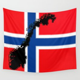Norwegian Flag with Map of Norway Wall Tapestry