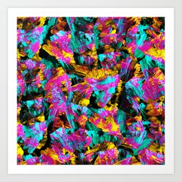 Artsy Modern Neon Colors Black Abstract Paint Art Art Print