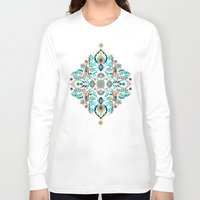 folk Long Sleeve T-shirts featuring Modern Folk in Jewel Colors by micklyn
