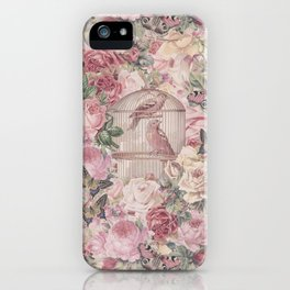 Romantic Flower Pattern And Birdcage iPhone Case
