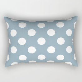 Pewter Blue - blue - White Polka Dots - Pois Pattern Rectangular Pillow