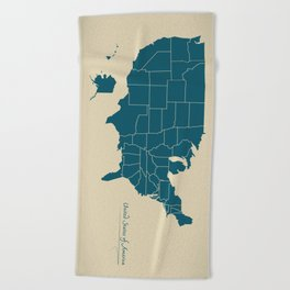 Modern Map - United States of America USA Beach Towel