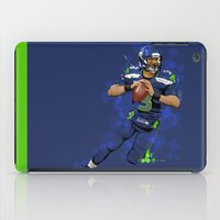 seahawks iPad Cases featuring Russell Wilson QB 3 Seattle Seahawks by Akyanyme