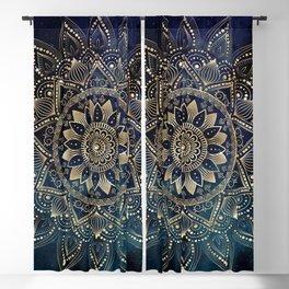 Elegant Gold Mandala Blue Galaxy Design Blackout Curtain