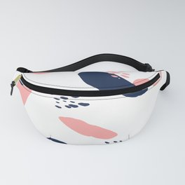 Modern abstract navy blue pastel pink geometric paint strokes with hand painted dots Fanny Pack