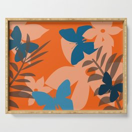Coral leaves with blue butterflies Serving Tray