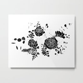 Broken Floral Sketch Metal Print