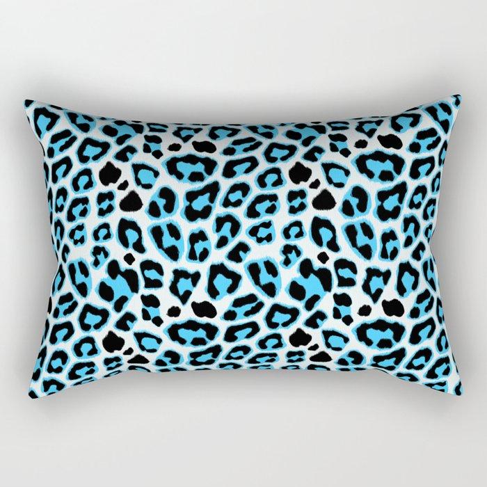 Blue & Black Leopard Print Pattern Rectangular Pillow