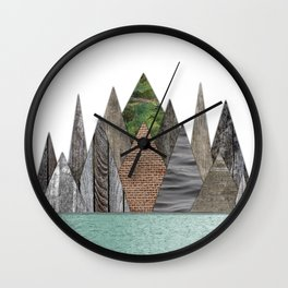 Textured Mountain Range in Minty Waters Wall Clock