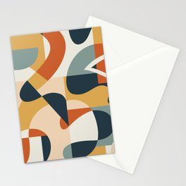 Abstract Geometric Shapes Collage Contemporary Print Stationery Cards
