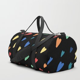 Small rainbow hearts on black background Duffle Bag