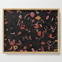 Black terrazzo and orange red Serving Tray