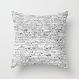 White Washed Brick Wall - Light White and Grey Wash Stone Brick Throw Pillow