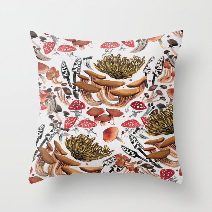 Autumnal Fungi Throw Pillow