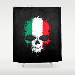 Flag of Italy on a Chaotic Splatter Skull Shower Curtain