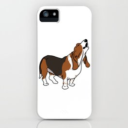 Howling Basset Hound Dog Cartoon iPhone Case