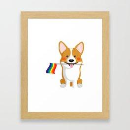 LGBT Gay Pride Flag Corgi - Pride Women Gay Men Framed Art Print
