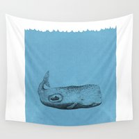 the whale Wall Tapestries featuring whale by Tina Siuda