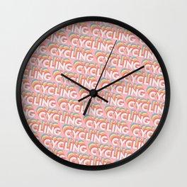 Cycling Trendy Rainbow Text Pattern (Pink) Wall Clock