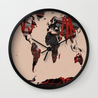 erotic Wall Clocks featuring World Map Erotic Red by ImPrintable