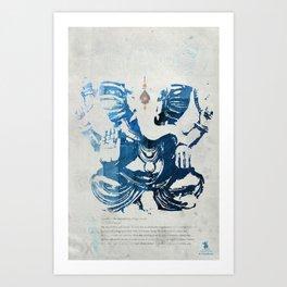 GANESHA indigo Art Print