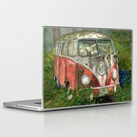 vw bus Laptop & iPad Skins featuring VW Bus in the Woods by Barb Laskey Studio