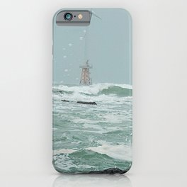 The scenery of Crashing great waves on Wind-power generator and  rocks, Jeju Island, Korea. iPhone Case