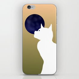 Moon and white cat iPhone Skin