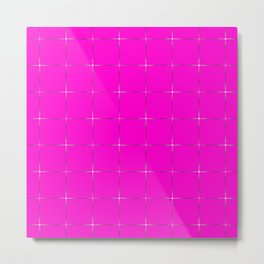 Glowing transparent stars on a pink  black background. Metal Print
