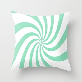 Spiral (Mint & White Pattern) Throw Pillow