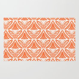 Butterfly and Flower Pattern Orange Rug