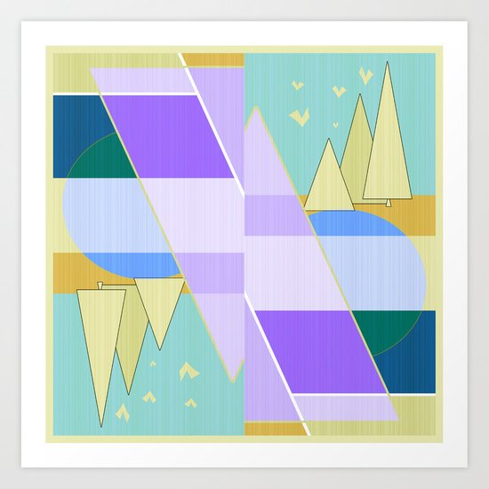Abstraction in purple and blue colors .  Art Print