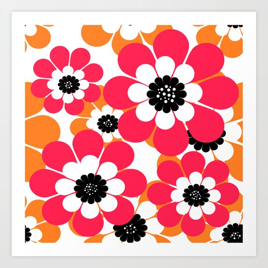 The floral pattern . red and yellow on a white background . Art Print