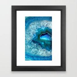 Teal Blue Agate II Framed Art Print