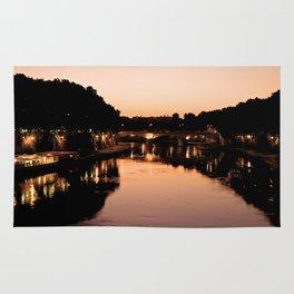 Tiber river at sunset Rug