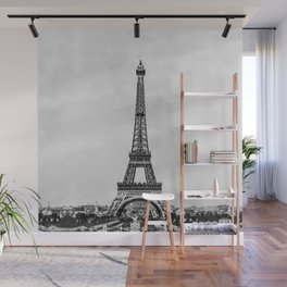 Eiffel tower in B&W with painterly effect Wall Mural