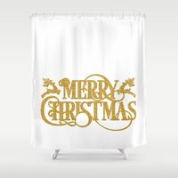 merry christmas Shower Curtains featuring Merry Christmas by Better HOME