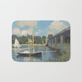 Claude Monet The Bridge at Argenteuil 1874 Painting Bath Mat