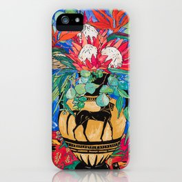 Tropical Protea Bouquet with Toucans in Greek Horse Urn on Ultramarine Blue iPhone Case