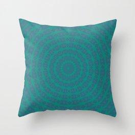 Aurora Radial Kaleidescope In Teal and Aqua Throw Pillow
