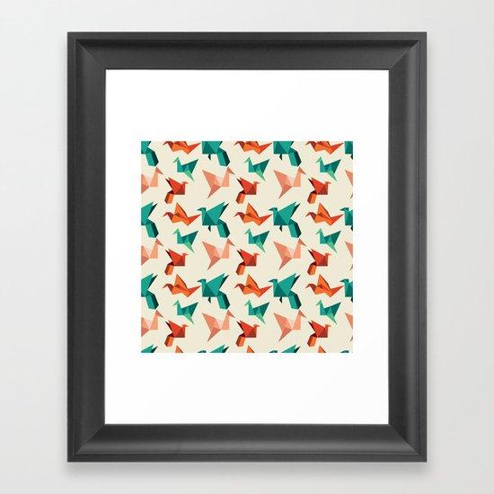 teal paper cranes Framed Art Print