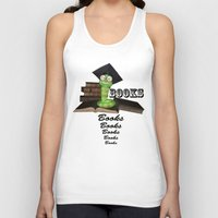 bookworm Tank Tops featuring Cute bookworm by nicky2342