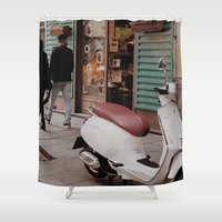 vespa Shower Curtains featuring Vespa by inesmarinho