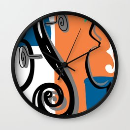 Scroll Pride - violin viola cello love - orange and teal Wall Clock